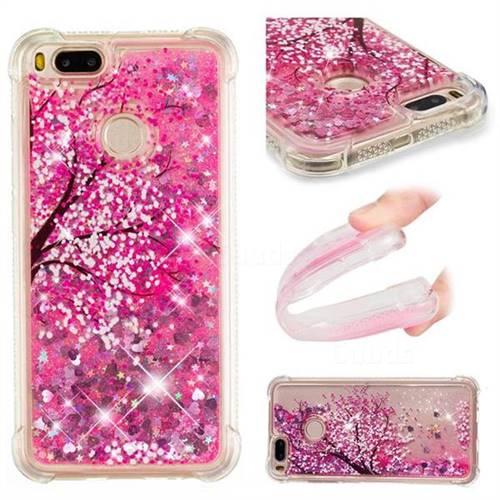 Pink Cherry Blossom Dynamic Liquid Glitter Sand Quicksand Star TPU Case for Xiaomi Mi A1 / Mi 5X
