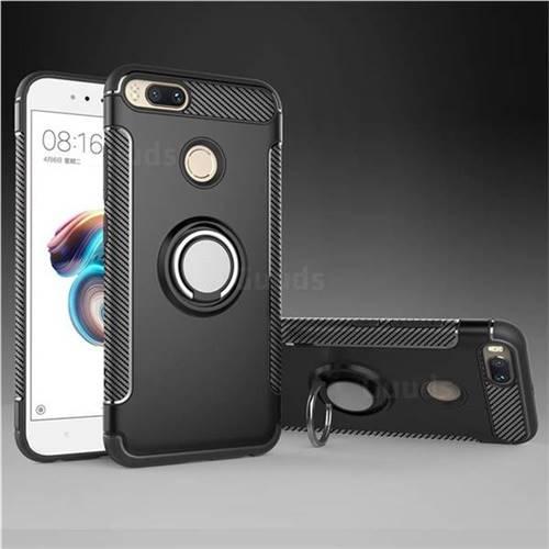 Armor Anti Drop Carbon PC + Silicon Invisible Ring Holder Phone Case for Xiaomi Mi A1 / Mi 5X - Black