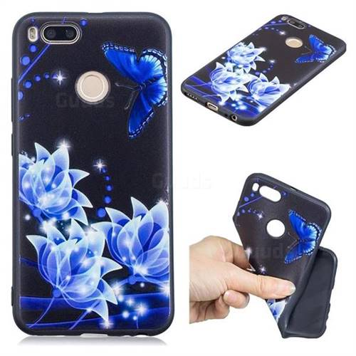 Blue Butterfly 3D Embossed Relief Black TPU Cell Phone Back Cover for Xiaomi Mi A1 / Mi 5X