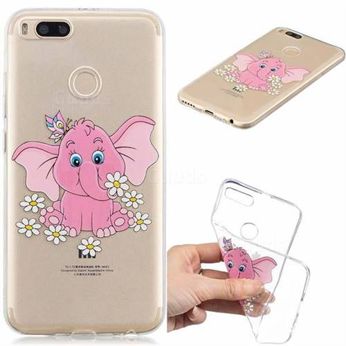 Tiny Pink Elephant Clear Varnish Soft Phone Back Cover for Xiaomi Mi A1 / Mi 5X