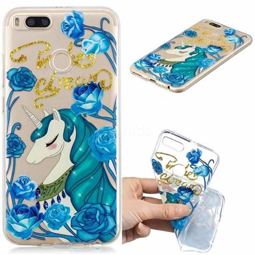 Blue Flower Unicorn Clear Varnish Soft Phone Back Cover for Xiaomi Mi A1 / Mi 5X
