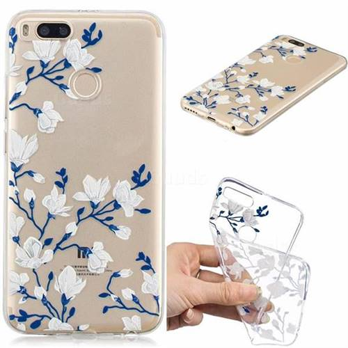 Magnolia Flower Clear Varnish Soft Phone Back Cover for Xiaomi Mi A1 / Mi 5X