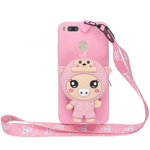 Pink Pig Neck Lanyard Zipper Wallet Silicone Case for Xiaomi Mi A1 / Mi 5X
