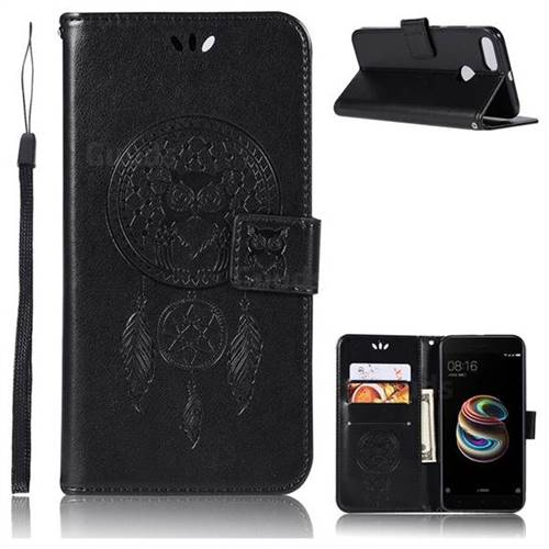Intricate Embossing Owl Campanula Leather Wallet Case for Xiaomi Mi 5X - Black