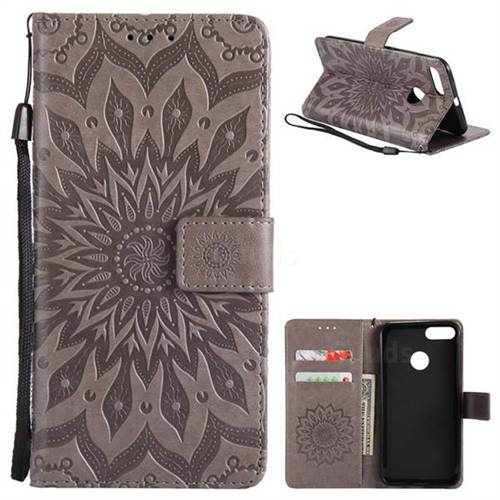 Embossing Sunflower Leather Wallet Case for Xiaomi Mi 5X - Gray
