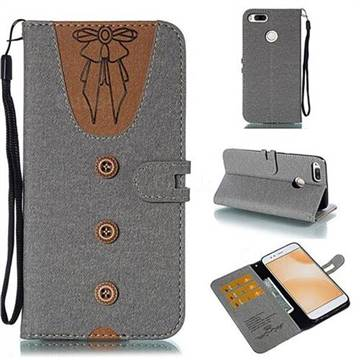 Ladies Bow Clothes Pattern Leather Wallet Phone Case for Xiaomi Mi A1 / Mi 5X - Gray