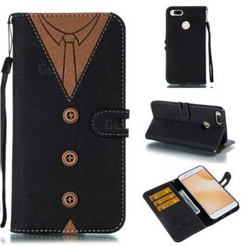 Mens Button Clothing Style Leather Wallet Phone Case for Xiaomi Mi A1 / Mi 5X - Black