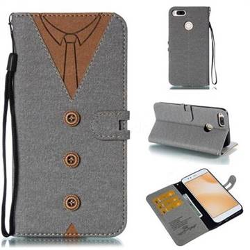 Mens Button Clothing Style Leather Wallet Phone Case for Xiaomi Mi A1 / Mi 5X - Gray