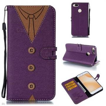 Mens Button Clothing Style Leather Wallet Phone Case for Xiaomi Mi A1 / Mi 5X - Purple
