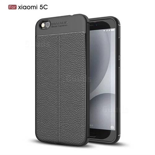 Luxury Auto Focus Litchi Texture Silicone TPU Back Cover for Xiaomi Mi 5c - Black