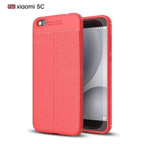 Luxury Auto Focus Litchi Texture Silicone TPU Back Cover for Xiaomi Mi 5c - Red