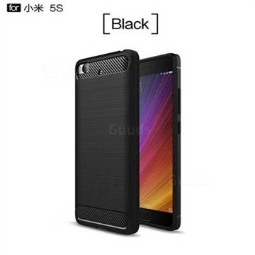 Luxury Carbon Fiber Brushed Wire Drawing Silicone TPU Back Cover for Xiaomi Mi 5s - Black