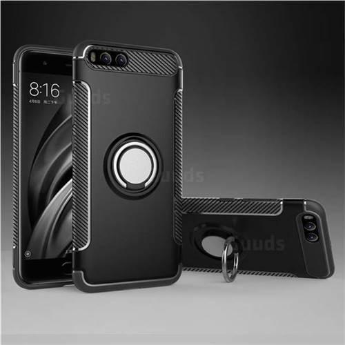 Armor Anti Drop Carbon PC + Silicon Invisible Ring Holder Phone Case for Xiaomi Mi 6 Mi6 - Black