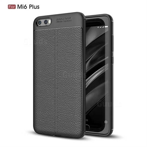 Luxury Auto Focus Litchi Texture Silicone TPU Back Cover for Xiaomi Mi 6 Plus - Black