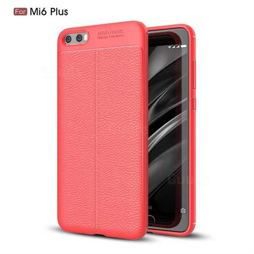 Luxury Auto Focus Litchi Texture Silicone TPU Back Cover for Xiaomi Mi 6 Plus - Red