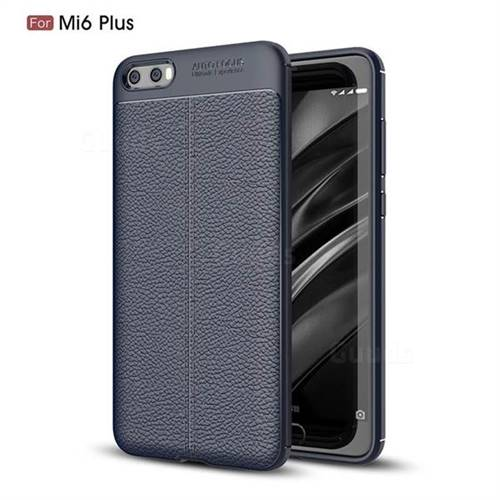 Luxury Auto Focus Litchi Texture Silicone TPU Back Cover for Xiaomi Mi 6 Plus - Dark Blue