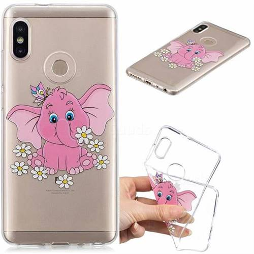 Tiny Pink Elephant Clear Varnish Soft Phone Back Cover for Xiaomi Mi A2 (Mi 6X)