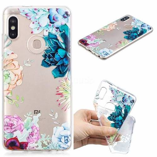Gem Flower Clear Varnish Soft Phone Back Cover for Xiaomi Mi A2 (Mi 6X)