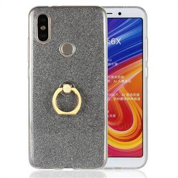 Luxury Soft TPU Glitter Back Ring Cover with 360 Rotate Finger Holder Buckle for Xiaomi Mi A2 (Mi 6X) - Black