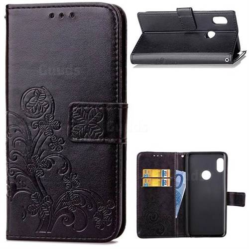 Embossing Imprint Four-Leaf Clover Leather Wallet Case for Xiaomi Mi A2 (Mi 6X) - Black