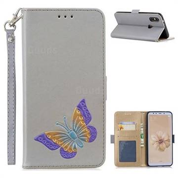 Imprint Embossing Butterfly Leather Wallet Case for Xiaomi Mi A2 (Mi 6X) - Grey
