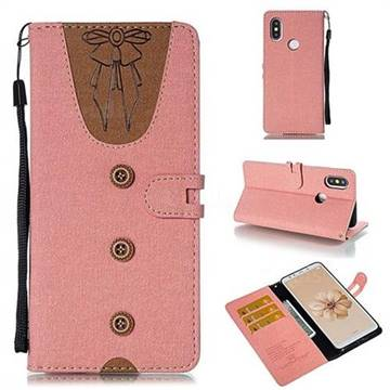 Ladies Bow Clothes Pattern Leather Wallet Phone Case for Xiaomi Mi A2 (Mi 6X) - Pink