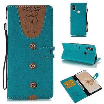 Ladies Bow Clothes Pattern Leather Wallet Phone Case for Xiaomi Mi A2 (Mi 6X) - Green