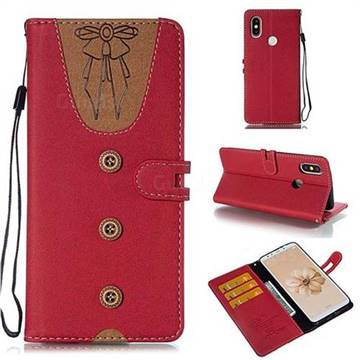 Ladies Bow Clothes Pattern Leather Wallet Phone Case for Xiaomi Mi A2 (Mi 6X) - Red