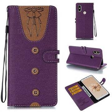Ladies Bow Clothes Pattern Leather Wallet Phone Case for Xiaomi Mi A2 (Mi 6X) - Purple