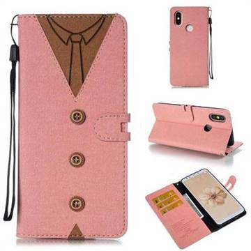 Mens Button Clothing Style Leather Wallet Phone Case for Xiaomi Mi A2 (Mi 6X) - Pink