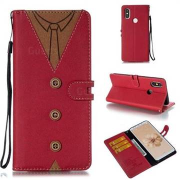 Mens Button Clothing Style Leather Wallet Phone Case for Xiaomi Mi A2 (Mi 6X) - Red