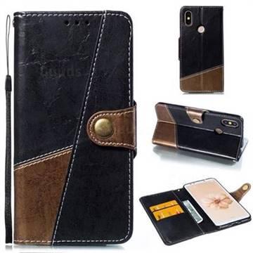 Retro Magnetic Stitching Wallet Flip Cover for Xiaomi Mi A2 (Mi 6X) - Dark Gray