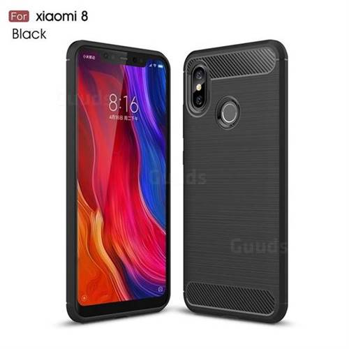 Luxury Carbon Fiber Brushed Wire Drawing Silicone TPU Back Cover for Xiaomi Mi 8 - Black