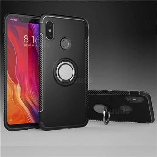 Armor Anti Drop Carbon PC + Silicon Invisible Ring Holder Phone Case for Xiaomi Mi 8