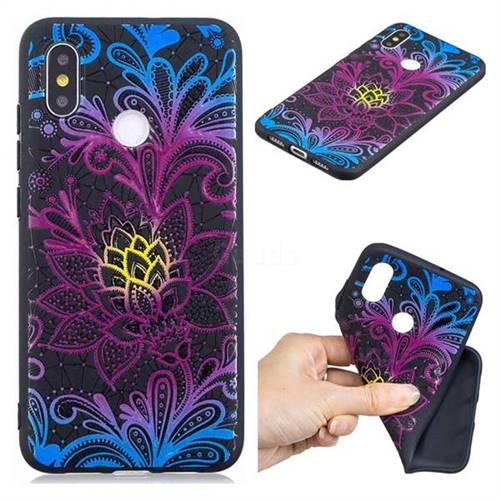 Colorful Lace 3D Embossed Relief Black TPU Cell Phone Back Cover for Xiaomi Mi 8