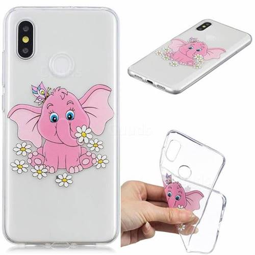 Tiny Pink Elephant Clear Varnish Soft Phone Back Cover for Xiaomi Mi 8