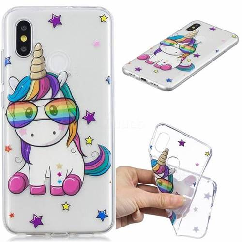 Glasses Unicorn Clear Varnish Soft Phone Back Cover for Xiaomi Mi 8