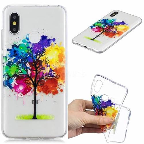 Oil Painting Tree Clear Varnish Soft Phone Back Cover for Xiaomi Mi 8