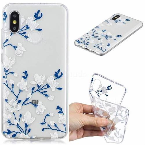 Magnolia Flower Clear Varnish Soft Phone Back Cover for Xiaomi Mi 8