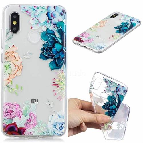 Gem Flower Clear Varnish Soft Phone Back Cover for Xiaomi Mi 8