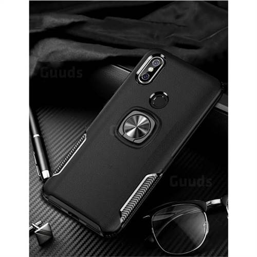 Knight Armor Anti Drop PC + Silicone Invisible Ring Holder Phone Cover for Xiaomi Mi 8 - Black