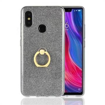Luxury Soft TPU Glitter Back Ring Cover with 360 Rotate Finger Holder Buckle for Xiaomi Mi 8 - Black