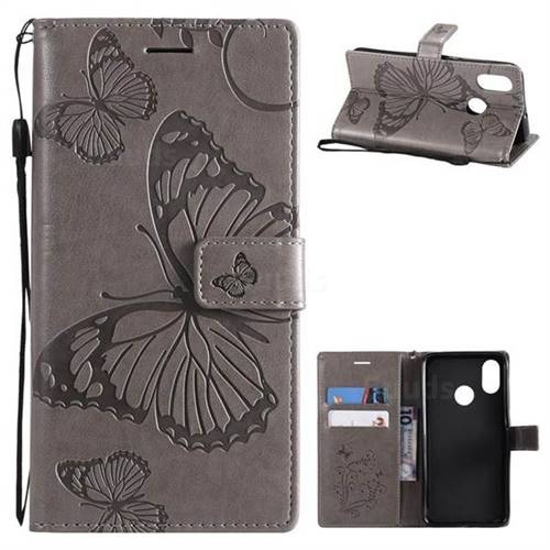 Embossing 3D Butterfly Leather Wallet Case for Xiaomi Mi 8 - Gray