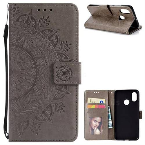 Intricate Embossing Datura Leather Wallet Case for Xiaomi Mi 8 - Gray