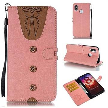 Ladies Bow Clothes Pattern Leather Wallet Phone Case for Xiaomi Mi 8 - Pink
