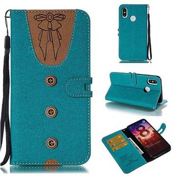 Ladies Bow Clothes Pattern Leather Wallet Phone Case for Xiaomi Mi 8 - Green