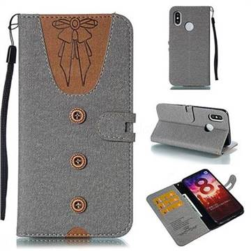 Ladies Bow Clothes Pattern Leather Wallet Phone Case for Xiaomi Mi 8 - Gray