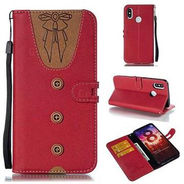 Ladies Bow Clothes Pattern Leather Wallet Phone Case for Xiaomi Mi 8 - Red