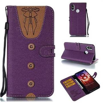 Ladies Bow Clothes Pattern Leather Wallet Phone Case for Xiaomi Mi 8 - Purple