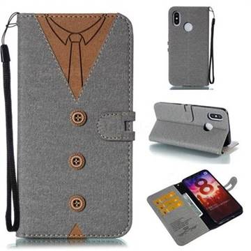 Mens Button Clothing Style Leather Wallet Phone Case for Xiaomi Mi 8 - Gray